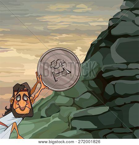 Cartoon Man Sisyphus Rolls Coin Up The Mountain