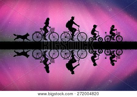 Family On Bikes In Park At Night. Active Rest Of Parents With Children. Vector Illustration With Sil