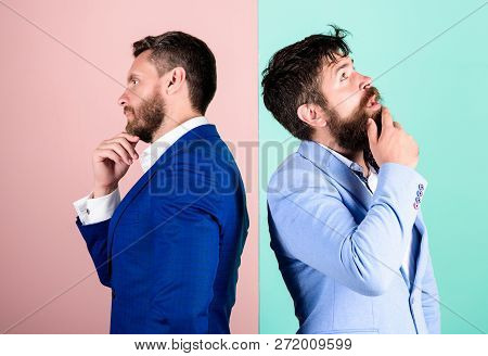 Businessmen Thoughtful Face Thinking About Business Problem. Business In Trouble Concept. Business M