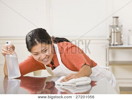 A woman is cleaning the kitchen counter.  She is looking away from the camera.  Horizontally framed shot.