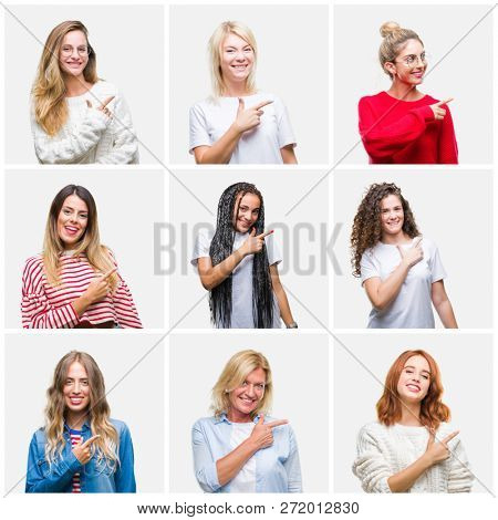Collage of group of young and senior women over isolated background cheerful with a smile of face pointing with hand and finger up to the side with happy and natural expression on face