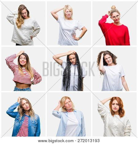 Collage of group of young and senior women over isolated background confuse and wonder about question. Uncertain with doubt, thinking with hand on head. Pensive concept.