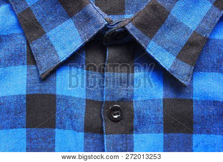 Plaid Shirt Textured Blue & Black Checkered Tartan Pattern. Close Up View Of Collar And Front Button