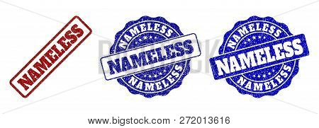 Nameless Grunge Stamp Seals In Red And Blue Colors. Vector Nameless Marks With Grunge Surface. Graph