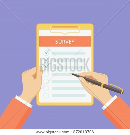 Survey Form On Clipboard With Hands Vector Illustration. Customer Feedback List With Checklist On Bo