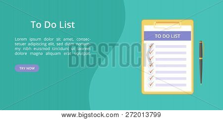 Todo List On Clipboard With Pen Web Template. Vector Landing Page Concept, Note And Task To Do On Bo