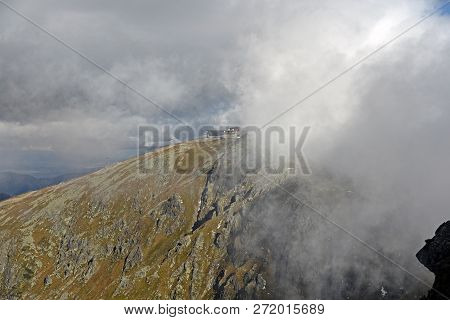 Chopok From Derese Mountain Peak In Nizke Tatry Mountains In Slovakia During Autumn Day With Blue Sk