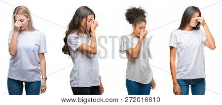 Collage of group of chinese, arab, african american woman over isolated background tired rubbing nose and eyes feeling fatigue and headache. Stress and frustration concept.