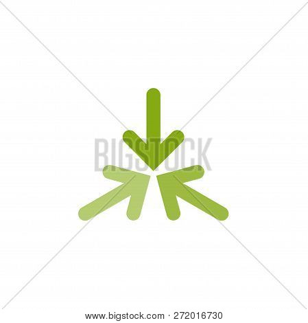 Three green arrows point to the center in circle. Triple Collide Arrows icon. Merge Directions icon. Vector poster