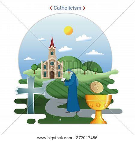 Flat Rural Landscape Illustration Symbolizing Catholicism. A Priest Goes To Serve In The Catholic Ch
