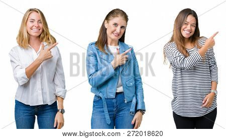 Collage of group of three beautiful women over white isolated background cheerful with a smile of face pointing with hand and finger up to the side with happy and natural expression on face