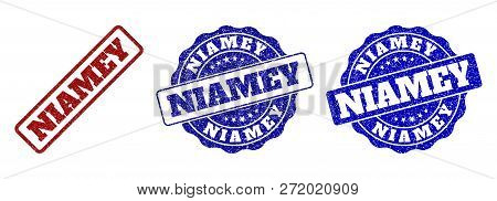 Niamey Scratched Stamp Seals In Red And Blue Colors. Vector Niamey Labels With Draft Surface. Graphi