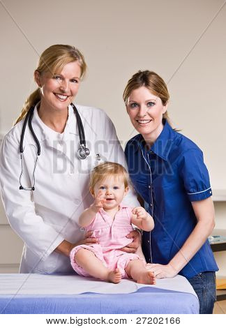 Doctor, mother and baby girl in doctor office