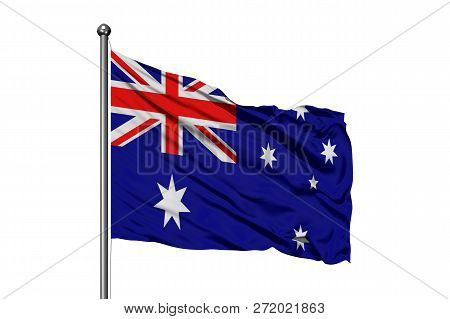 Flag Of Australia Waving In The Wind, Isolated White Background. Australian Flag.