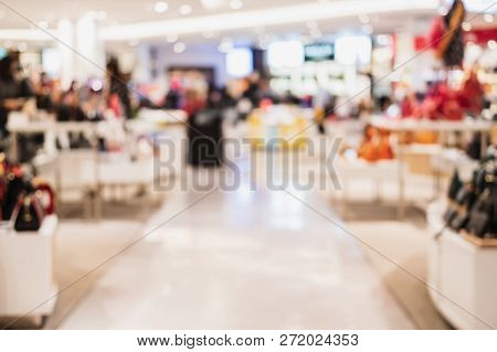 Abstract Blurred Background Of Interior Clothing Store At Shopping Mall