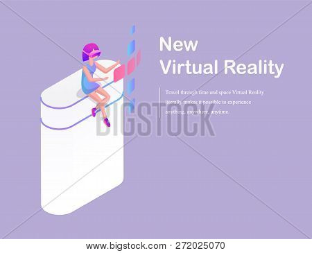 New Virtual Reality Concept Cartoon Advertising Vector Banner. Girl Sitting On Isolated Column In Sp
