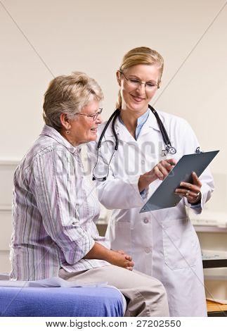 Médico explicando la carta médica a mujer senior