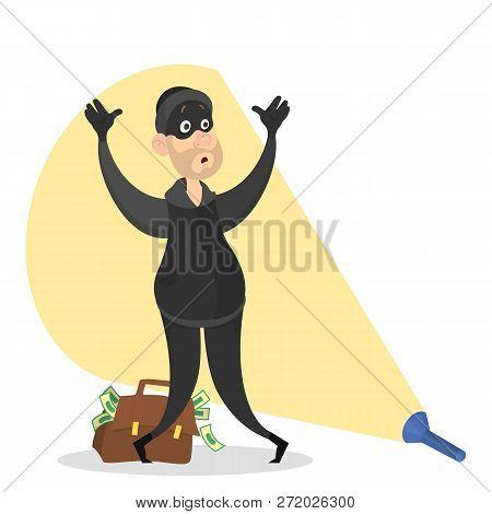 Thief Or Burglar Arrested Concept. Criminal In Danger