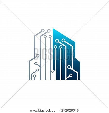 Circuit Tech Element. Electronics Icon. Digital Electronics Logo Design. Creative Electronic Circuit