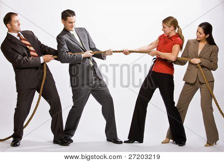 Business people playing tug-of-war poster