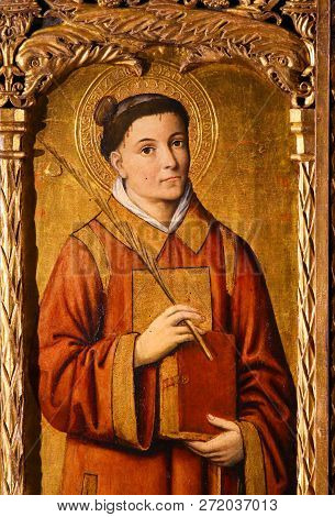 Monaco - November 13, 2018: Painting Of Saint Stephen, The Protomartyr Or First Martyr Of Christiani