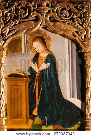 Monaco - November 13, 2018: Mother Mary In Prayer, On The Altarpiece Of St Nicolas (1500) In The Cat