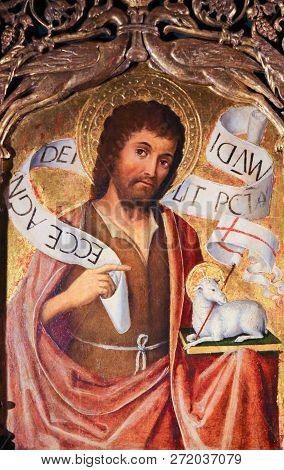 Monaco - November 13, 2018: Painting Of Saint John The Baptist And The Agnus Dei On The Altarpiece O