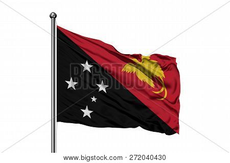 Flag Of Papua New Guinea Waving In The Wind, Isolated White Background. Guinean Flag.