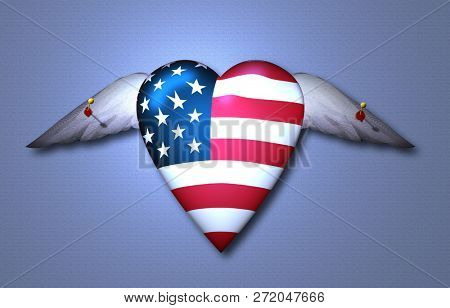 Symbolic composition. Trapped USA Winged Heart. Pinned Freedom. 3D rendering