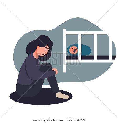 Depressed Young Woman. Young, Tired Mother Is Not Suited To A Crying Baby And Feels Guilty