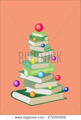 New Year Tree From Colorful Books And Christmas Balls. Cartoon X-mas Illustration. Cute Bright Pile