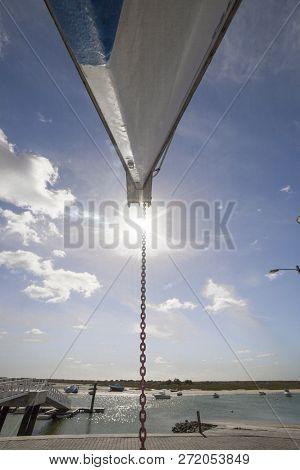 Sailboat Prow Moored On Dry At Cabanas De Tavira, Portugal. Low Angle Shot