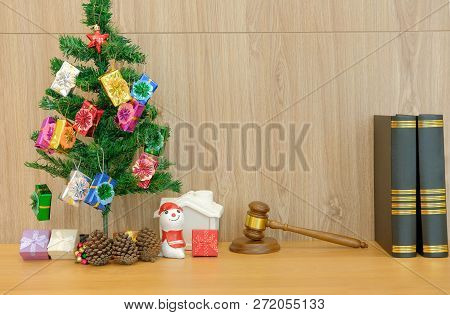 Decorated Christmas Tree Judge Gavel & Law Book. Lawyer Attorney Justice Workplace At Xmas New Year