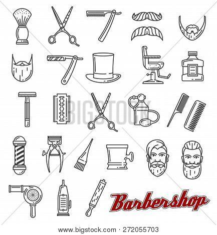 Barbershop Outline Line Art Icons. Beard And Mustache, Barber Tools Shaving Razor Or Scissors, Hairb
