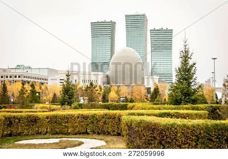 Astana, Kazakhstan. October 12, 2018. The View Of The Kazakh Capital Of Astana Downtown With The Nat