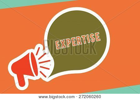 Text Sign Showing Expertise. Conceptual Photo Expert Skill Or Knowledge In Particular Field Over Yea