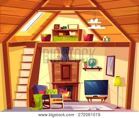 Vector Cozy Duplex Background. Cartoon Interior Of Playroom - Child Place And Living Room, Lounge Wi