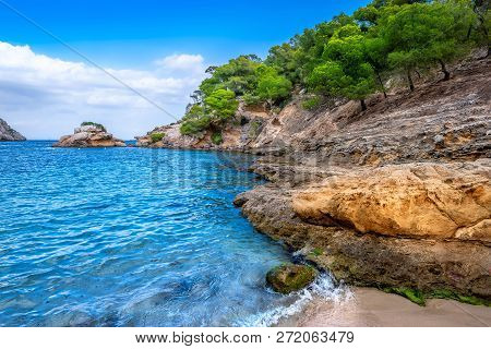 Beautiful Coastline Of Mallorca With A Blue Sky