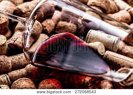 Wine Corks Background Red Wine Glass And Wine Corks.