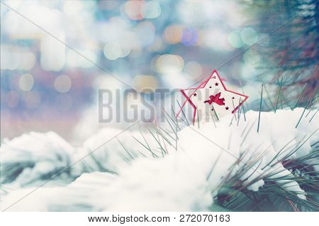 Christmas Winter Holiday Greeting Card.  Red Star With Xmas Angel On Green Christmas Trees With Snow