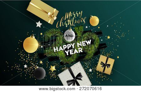 Merry Christmas And Happy New Year 2019. Vector Illustration Concept Background, Greeting Card, Webs
