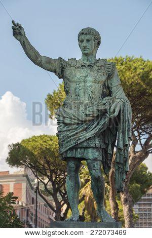 Ancient Bronze Sculpture Of Gaius Julius Caesar In Naples, Italy