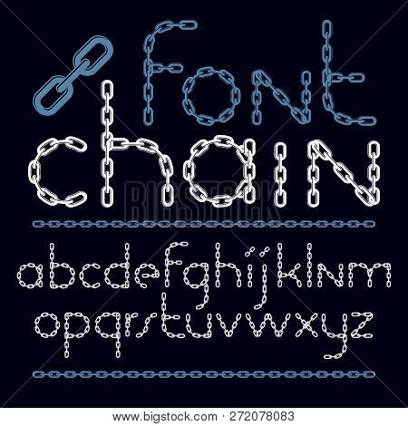 Set Of Vector English Alphabet Letters Isolated. Lower Case Decorative Font Created Using Chrome Cha