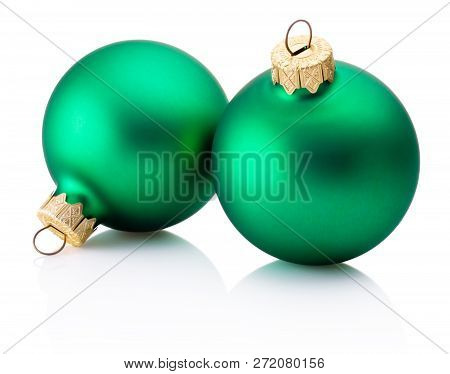 Two Christmas Green Baubles Isolated On White Background