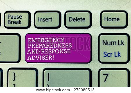 Conceptual Hand Writing Showing Emergency Preparedness And Response Adviser. Business Photo Text Be