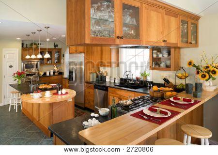 Modern Gourmet Kitchen With Breakfast.