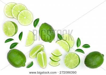 Sliced Lime Vith Leaves Isolated On White Background With Copy Space For Your Text. Top View. Flat L