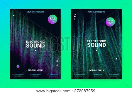 Techno Music Poster. Wave Flyer For Dance Event Promotion. Banner For Techno Sound Performance. Elec