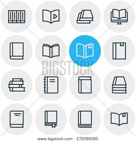 Illustration Of 16 Book Reading Icons Line Style. Editable Set Of Ebook, Publication, Textbook And O