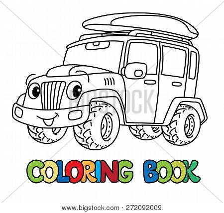 Funny Car Or Offroader With Eyes Coloring Book